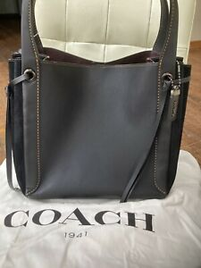 Coach Harmony Hobo Black Tote Leather Suede Bag