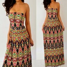 MLLE GABRIELLE Black Pink Green Yellow Tube Strapless Long Maxi Dress L Large