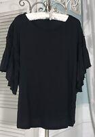 NEW Plus Size 1X XL Black Knit Shirt Top Ruffle Blouse $58