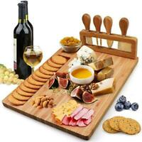 Bamboo Cheese Board with Cutlery Set Wooden Charcuterie Meat Platter Hot A9I7
