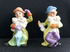 Lot of (2) Vtg Taiwan Ucgc Ceramic Happy Dancing Colorful Clown Figurines, 5.5�