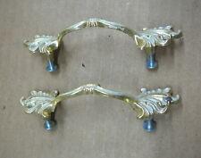 PAIR VINTAGE GOLD & WHITE DRESSER PULLS with SCREWS - MCM RETRO - EXCELLENT