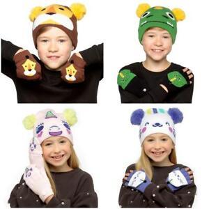 Boys Girls Kids Cute Animal Knitted Winter Beanie Hat and Mitten Gloves Gift Set