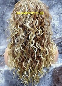Human Hair Blend Lace Front Full Wig Long Layered Curly Medium Blonde Mix #27613