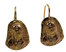 Virgen de Guadalupe 3 Tone 18k Gold Plated Dangle Earrings Leverback Closure