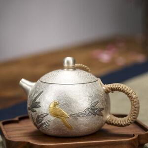 pure silver tea pot handmade pot bird branch relief 999 sterling pot of tea new