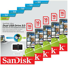 5 x SanDisk 16GB OTG Ultra Dual micro USB 3.0 Pen Drive SDDD2-016G for Android