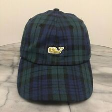 Vineyard Vines Plaid Blue Green Black Adjustable Preppy Baseball Hat