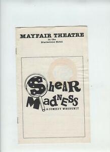 Mayfair Theatre Chicago Illinois Shear Madness Program