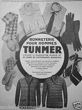 PUBLICITÉ 1927 TUNMER BONNETERIE POUR HOMMES BAS CHAUSSETTES LAINE ANGLAISE