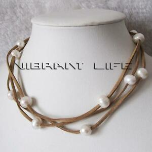 """51"""" 10-11mm White Freshwater Pearl Brown Suede Rope Necklace Single Strand"""
