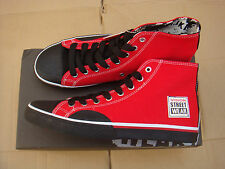 new SKATEBOARD RED/BLACK vision street wear CANVAS HI trainers UK size 8