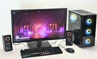 "ARGB Gaming PC Set 27"" Monitor Quad CPU 16GB Ram 240GB SSD 1TB HDD GT GTX Wifi"