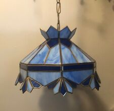 Blue  Tiffany Style hanging Ceiling Lamp Pre-Owned good Condition.Beautiful.