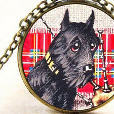 New Scottie Scottish Terrier Dog Pendant Bronze Necklace, with Scotland Bagpipes