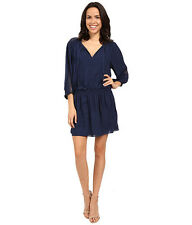 NWT $388 Joie Baraz Silk Ruched Waist Dress Navy 3/4 Sleeve Medium