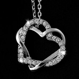 18k White Gold Plated Love Heart Pendant SWAROVSKI CRYSTALS + Necklace Jewelry