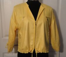 CACHE Yellow Polyester Lightweight Jacket With Gold Hardware Zipped Front sz M