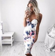 UK Boho Women Holiday Off Shoulder Bodycon Floral Party Beach Maxi Pencil Dress