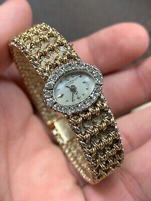 BAUME & MERCIER Estate Fresh 14K Yellow Gold Ladies Diamond Watch 36 Grams!