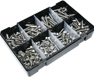 160 PIECE A2 STAINLESS STEEL HEX HEAD SELF TAPPING SCREWS ASSORTED KIT TAPPERS
