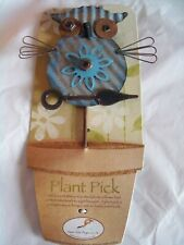Whimsical Tin Owl Decorative Art Plant/Garden Pick, Cute, New