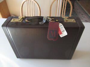 NWT Bruno Magli Brown Leather Briefcase Attache
