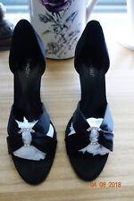 SANDLER Black Satin Stiletto Peep Toe Pumps With Rhinestone Wedding evening 3 in