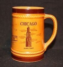 VINTAGE TRAVEL CHICAGO LARGE CERAMIC COFFEE MUG CUP BEER STEIN SEARS TOWER OHARE