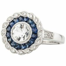 1.68ct Sapphires And Cubic Zirconia 925 Sterling Silver Target Ring With