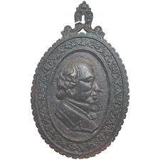 More details for victorian 19th century cast iron charles dickens portrait relief wall plaque