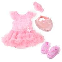 newborn baby girls bodysuit+headband+shoes+bib baby shower gift photo props