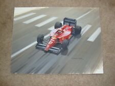 NIGEL MANSELL FERRARI BY GRAHAM TURNER ORIGINAL GOUCHE ON BOARD PAINTING