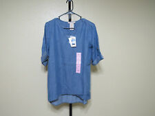 NWT Philosophy Womens Tunic Roll Tab Sleeves-Med. Tencel Blue-Size-XL-MSRP-$88