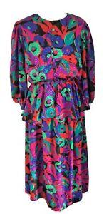 JAEGER Vintage 80's Women's 2 Piece Peplum Blouse & Skirt Set Size 14