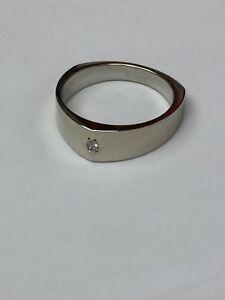 14K White Gold Gents Diamond Ring Unique Shape Size 9.75