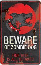 Beware of Zombie Dog Metal Sign Halloween Decoration Prop NEW