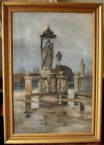 Statuary by a Lake Danish School Thorvald Niss Antique Oil Painting c1890s