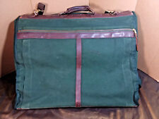 Vintage Orvis Green Leather Canvas BattenKill Travel Luggage Hanging Garment Bag