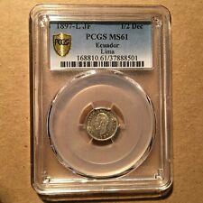 ECUADOR  1/2  DECIMO 1897  KM # 55.1  PCGS MS 61.