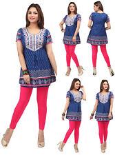 UK STOCK- Women Casual Indian Blue Short Kurti Tunic Kurta Top Shirt Dress 176C