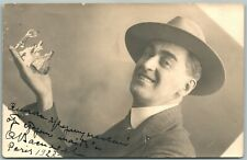 THEATRE ACTORS on MAN'S HAND PHOTOMONTAGE 1927 ANTIQUE EXAGGERATED POSTCARD RPPC