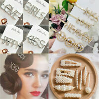 Women Girls Crystal Rhinestone Words Hairpin Hair Barrette Hair Clips Headwear~
