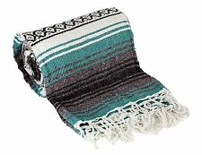Authentic Mexican Falsa Blanket Teal Green