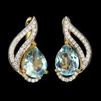 Pear Cut Sky Blue Topaz 9x7mm White Cz 925 Sterling Silver Earrings