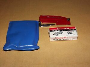 "VINTAGE SWINGLINE TOT 50 3"" LONG MINI RED STAPLER"