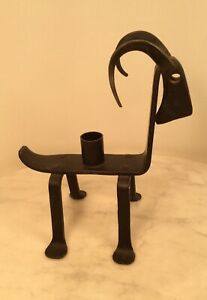 Vintage Mid Century Modern Black Iron Ram Animal Candle Holder Sweden