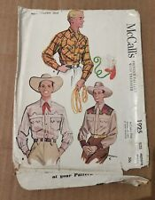 1954 McCall's 1925 Men's Western Shirt M 38-40 Complete but No Instructions