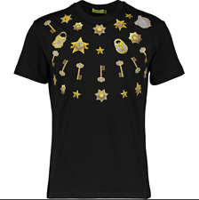 VERSACE JEANS Men's Black & Gold Printed Short Sleeve T Shirt