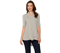 H By Halston Short Sleeve Knit Top With Chiffon Drape Front Size L Grey Color